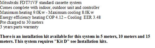 Mitsubishi FDT71VF Ceiling Cassette