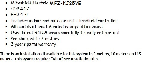 Mitsubishi Electric MFZ-KJ25VE
