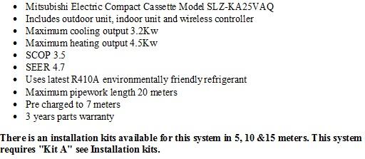 Compact air conditioner cassette SLZ-KA25VAQ