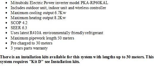 Mitsubishi PKA-RP60KAL Power Inverter