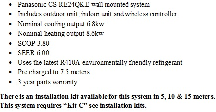 Panasonic inverter system CS-RE24QKE