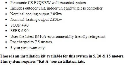 panasonic Etherea wall mounted heat pump