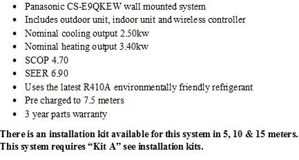 Panasonic Etherea model CS-E9QKEW